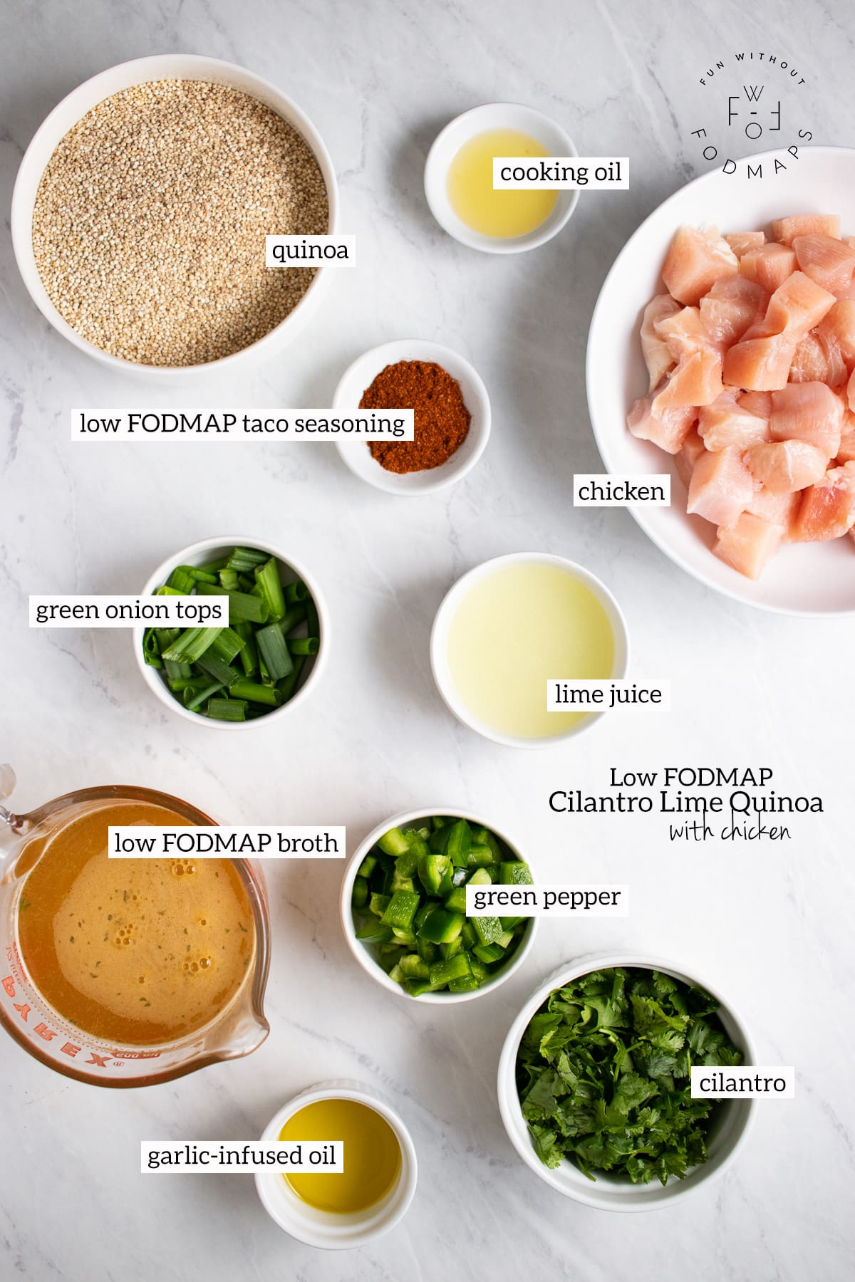 Ingredients needed for Low FODMAP Cilantro Lime Quinoa with Chicken