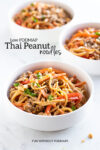 "Three bowls of peanut noodles with turkey. In the white space, a black text overlay reads ""Low FODMAP Thai Peanut Noodles."""
