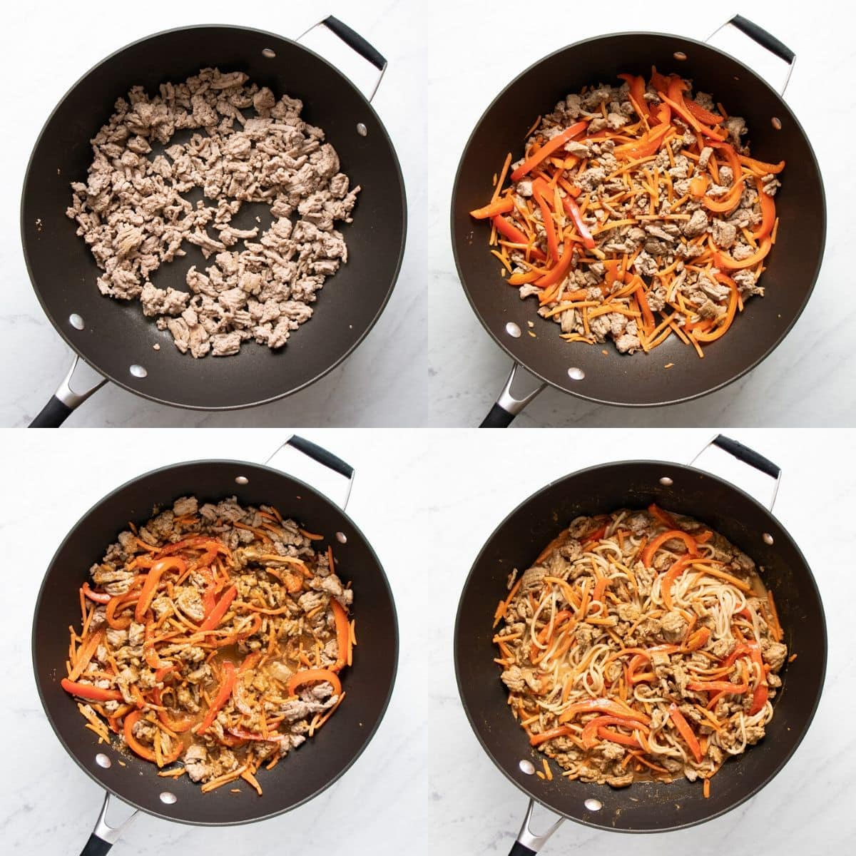 A collage of four images depicting ground turkey being browned, then the veggies (red bell pepper and carrots) being added and sauteed, then the sauce being added, and finally the cooked spaghetti being added.