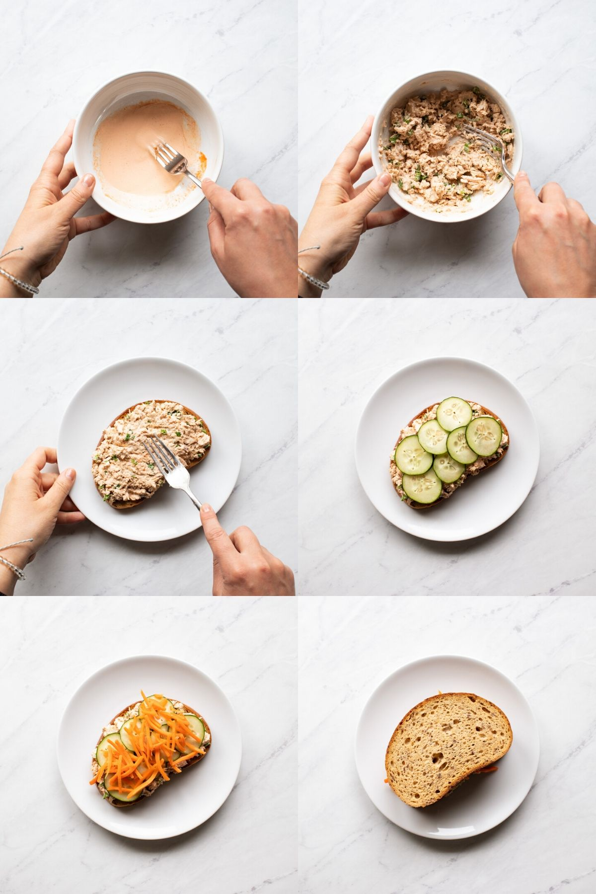 Six step-by-step images arranged into one image showing the process of making low FODMAP spicy salmon sandwiches. First, mayo, sriracha, and lime juice are whisked together with a fork in a small white bowl. Second, the canned salmon and green onion tops (low FODMAP part) are added and mixed into the sauce. Third, the salmon mixture is spread onto a slice of low FODMAP bread. Fourth, the salmon salad is topped with 7 thin cucumber slices. Fifth, carrot matchsticks are arranged on top of the cucumbers slices. Sixth, the sandwich is finished with one more slices of low FODMAP bread.