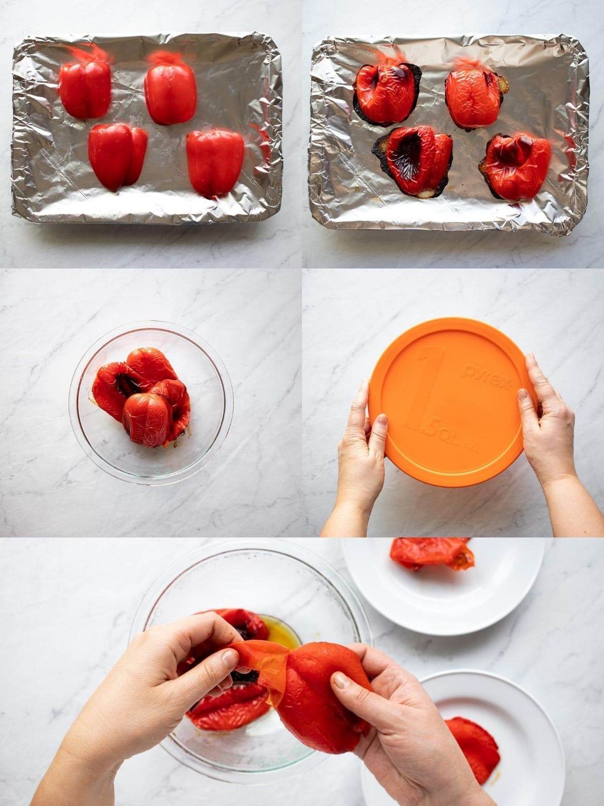 Five pictures depicting how to roast red peppers. First, red bell pepper halves are placed cut side down onto. a rimmed baking sheet lined with aluminum foil. The second shows the red peppers wilted and slightly charred after roasting. Third, the roasted peppers are transferred to a glass bowl. Fourth, the bowl is covered with a lid to cool. And fifth, the skins of the roasted peppers are being peeled off.