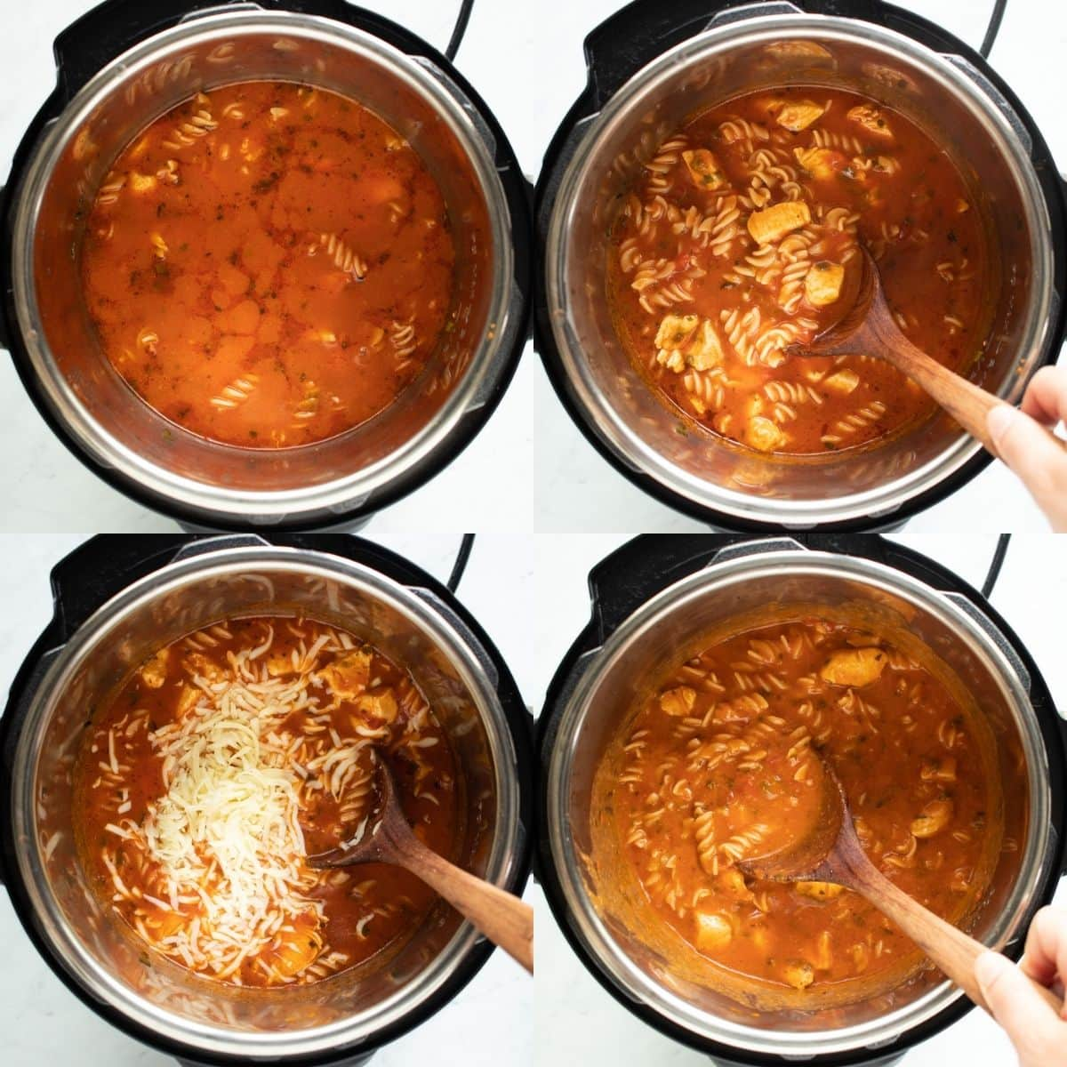 Four pictures showing the cooked tomato-basil pasta in the Instant Pot. The first is right after cooking. It's kind of liquidy. The second is the mixture being stirred to help start the thickening process. The third is mozzarella cheese being added. The fourth is the thickened pasta after heating for 10-15 minutes in the Instant Pot.