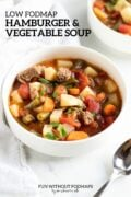 """A bowl of soup made with ground beef, potatoes, carrots, tomatoes and green beans is surrounded by a spoon, white cloth napkin, and a partial bowl of soup. In the white space, black text reads """"Low FODMAP Hamburger and Vegetable Soup"""