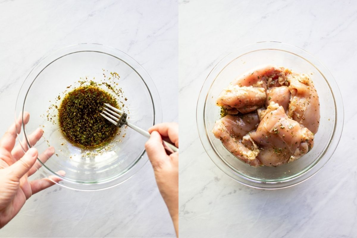 Two images showing a marinade being whisked together and then chicken thighs have been added and tossed to coat with the marinade.