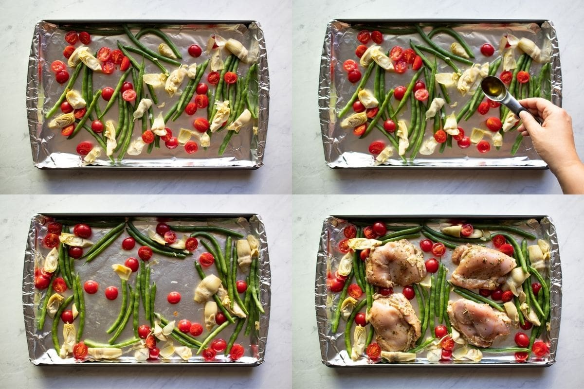 Four pictures showing the building of the Italian Chicken and Veggies sheet pan. First, the veggies are spread out on an aluminum foil-lined sheet pan. Next, garlic-infused oil is add. Third, the veggies are mixed and pushed aside to create four open spaces. Last, the marinated chicken thighs are placed in the open spaces.