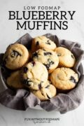 "A bowl of blueberry muffins. Above the bowl, black text reads ""Low FODMAP Blueberry Muffins."""