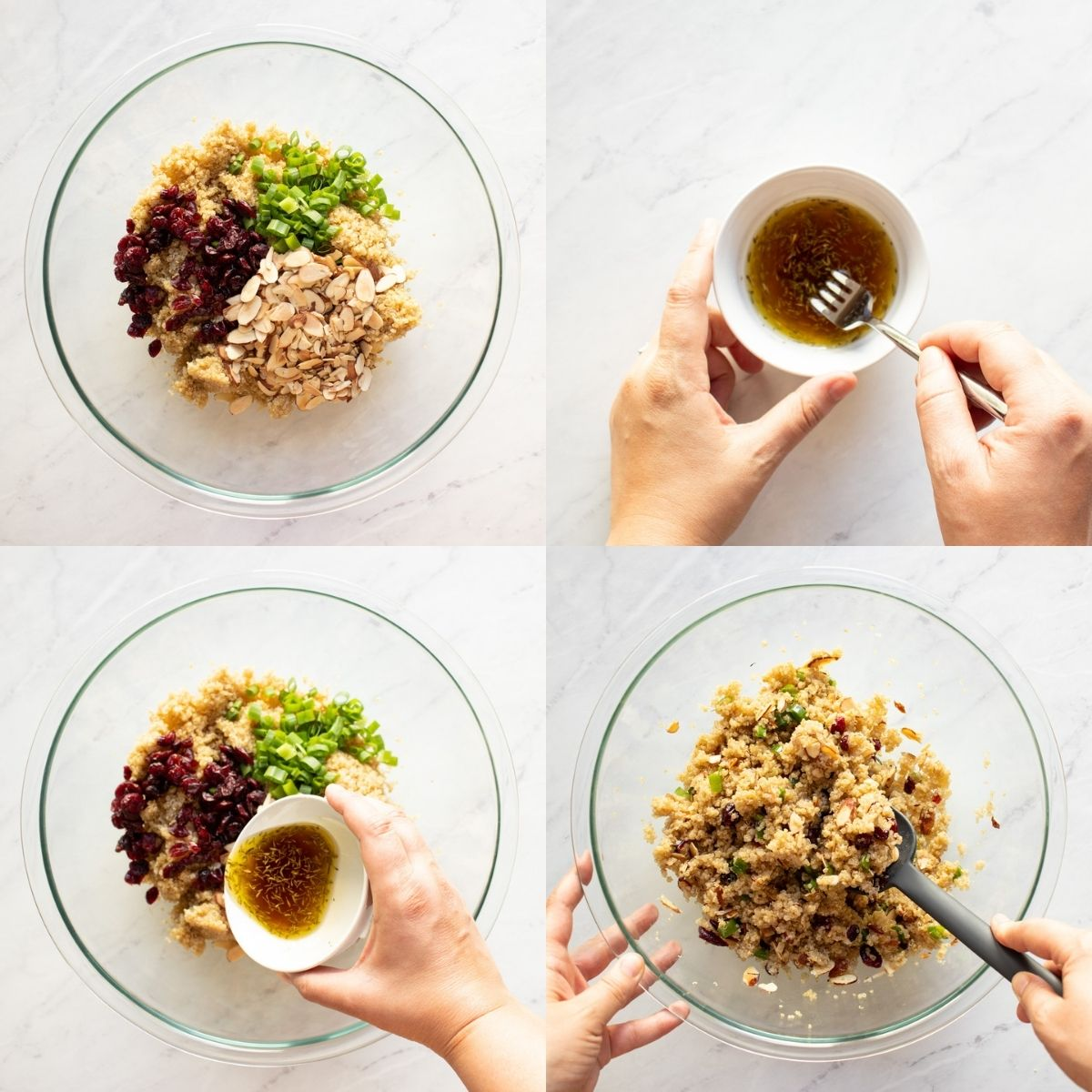 Four photos in one showing the assembly of quinoa salad with cranberries and almonds. The first photo shows the salad ingredients being added to a bowl. In the second, the dressing is being whisked. In the third, the salad dressing is being added to the salad. And in the fourth, the quinoa salad is being mixed.