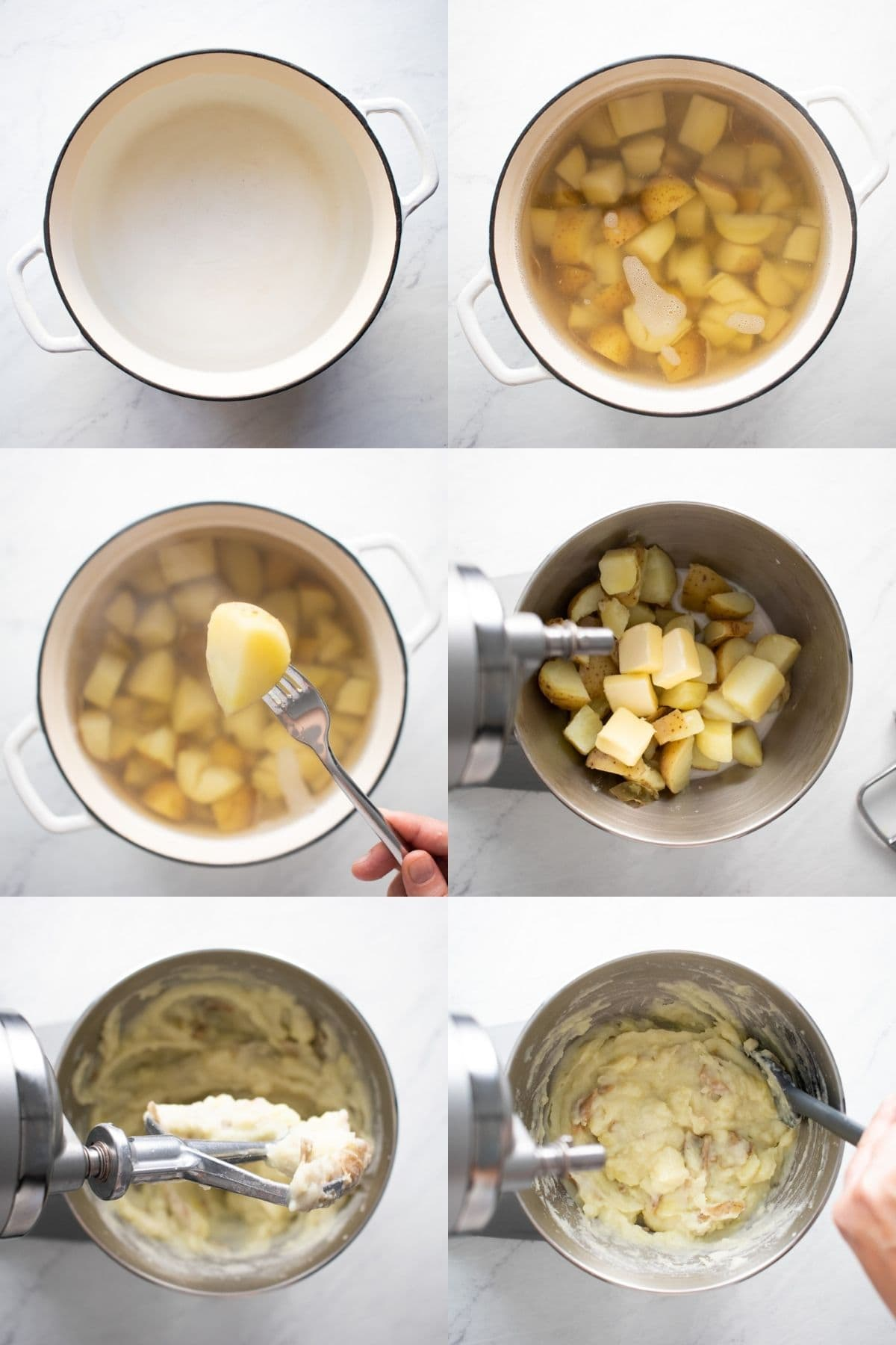 Six pictures in one showing the steps to make low FODMAP mashed potatoes. 1. Boil water. 2. Add potatoes and cook until 3. potatoes are fork tender. 4. Transfer potatoes to stand mixer and add milk and butter. 5. Whip on low to mash. 6. Scrape the sides and adjust flavor with salt.