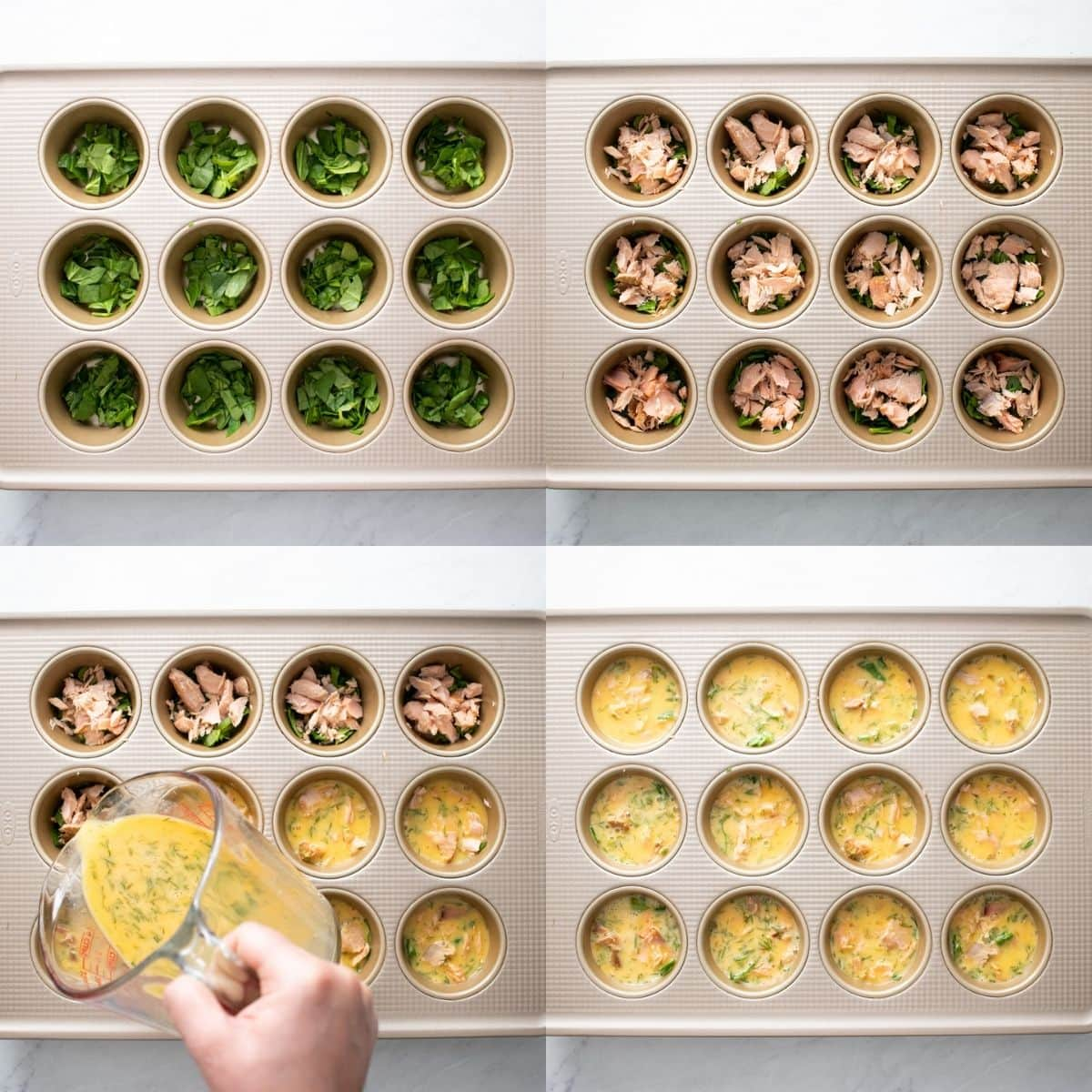 Four images depicting the assembly of these egg muffins. The first shows chopped spinach evenly divided into a muffin tin. The second image shows smoked salmon pieces added on top of the spinach. The third image shows a whisked egg mixture being poured into the muffin tin cups. The fourth images shows the egg mixture is evenly divided into all of the muffin tin cups.