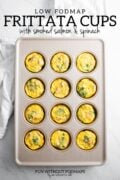 """A muffin tin filled with baked egg muffins. In the white space above, black text reads """"Low FODMAP Frittata Cups with Smoked Salmon and Spinach"""""""
