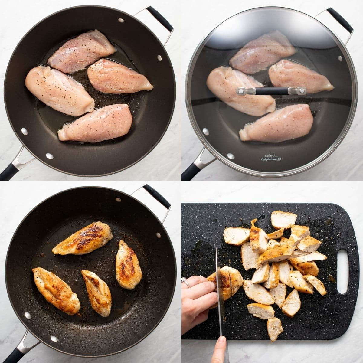 Four images showing the steps for pan-frying chicken breasts. First image: Chicken breasts seasoned with salt and pepper in a large skillet with avocado oil. Second image: The skillet with the chicken is covered with a lid. Third image: The chicken is golden-brown and fully-cooked in the skillet. Fourth image: The cooked chicken is being sliced on a cutting board.