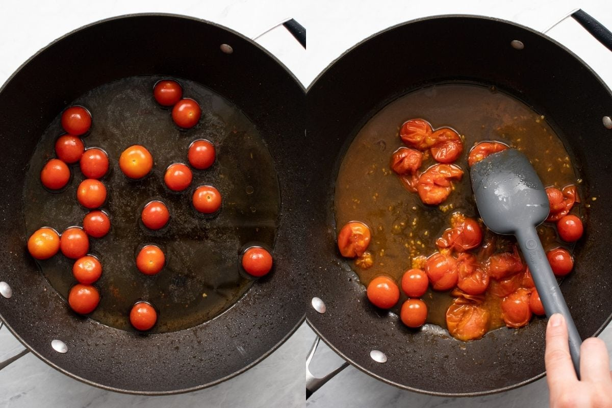 Two images in one. The first image shows cherry tomatoes and white wine added to a large skillet. The second image shows the simmered cherry tomatoes being carefully burst with a silicone spatula.