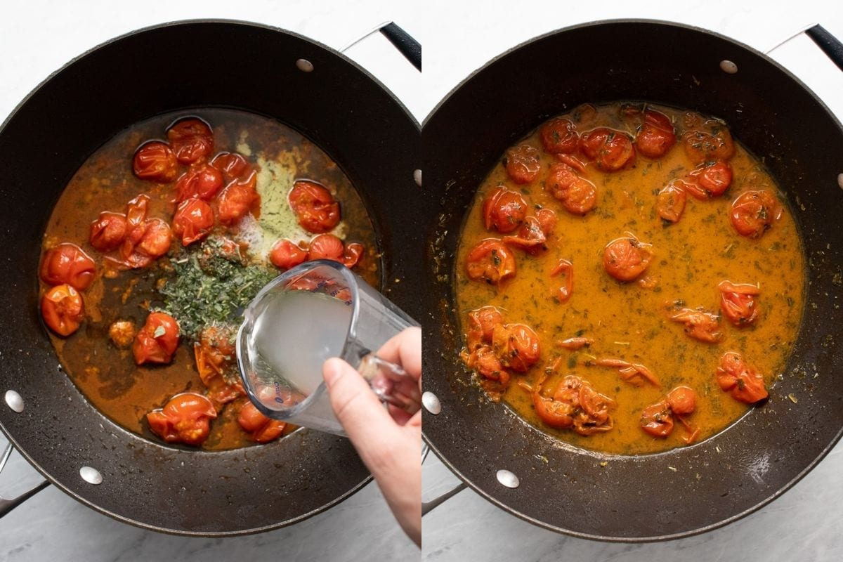 Two images in one. The first image shows reserved pasta water being added to a skillet with burst cherry tomatoes, reduced white wine, butter, dried basil, and garlic-infused oil. The second image shows the sauce after the ingredients have been mixed and allowed to thicken slightly in the skillet.