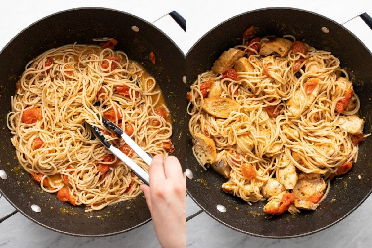 Two images in one. The first shows cooked spaghetti being tossed in a tomato-white wine sauce with tongs. The second shows chicken strips mixed into the pasta.