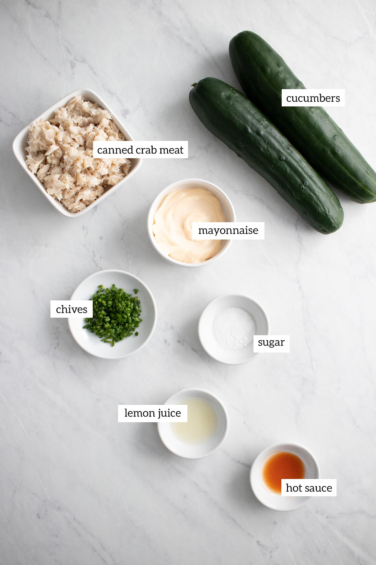 Ingredients prepped and measured out into individual dishes.